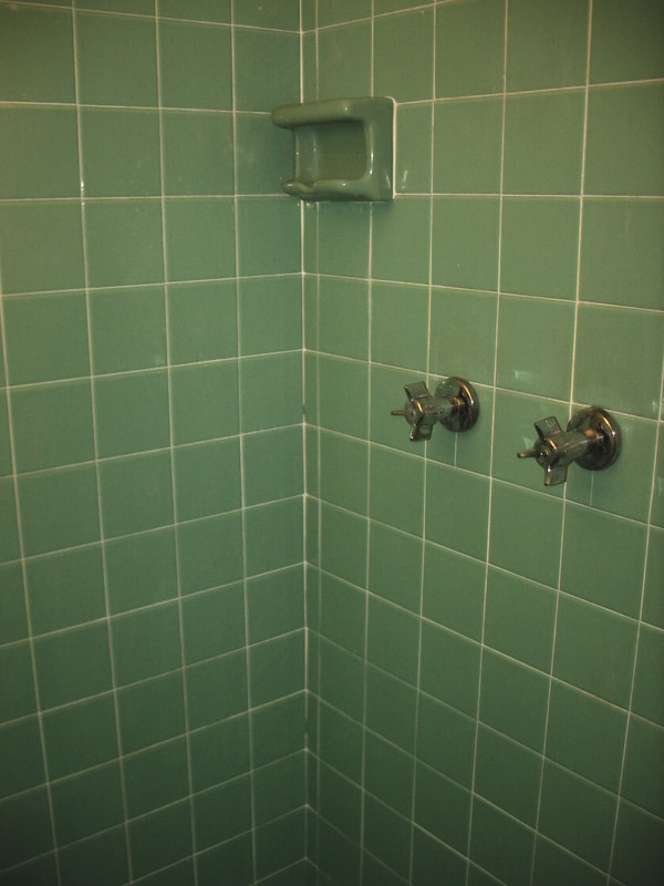 We turn a green bathrom tile into any contemporary color; specialized reglazing resurfaces old green tile, to any color.