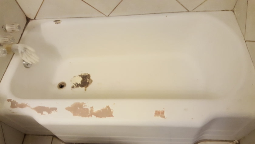 We take an old bathtub, and give you expert reglazing service, new resurface